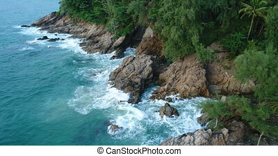 Aerial view of the sea and coastline of the beach in Phuket...