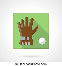 Brown golf glove flat square vector icon - Single brown golf...