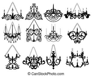 Baroque style wall lamps set collection on white background....