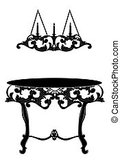Rich Baroque commode Table and lamp. French Luxury rich...