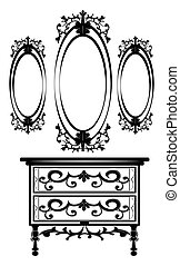 Vintage Baroque Imperial Dressing Table and Mirror set....
