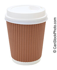 Top side coffee cup and heat insulation on white background.