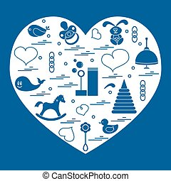 Vector illustration kids elements arranged in a heart: bird,...