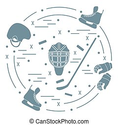 Vector illustration of various subjects for hockey....
