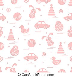 Vector pattern of different toys: car, pyramid, roly-poly,...