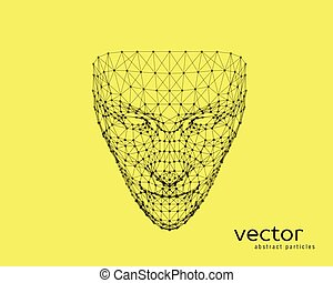 Vector illustration of human face - Abstract vector...