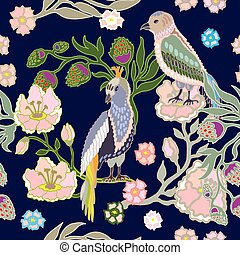 Japanese garden. Birds and flowers. - Oriental pattern with...