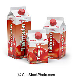 Tomato juice carton cardboard box pack isolated on white...