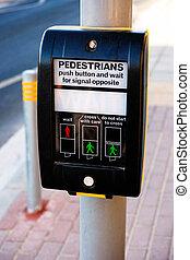 Pedestrians push button in the street