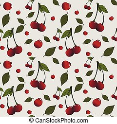 Pattern with cherries and leaves placed randomly