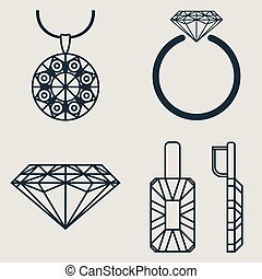 Set contains four icons for jewelry goods ring, earrings,...