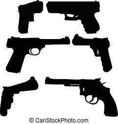 Gun Silhouettes is an illustration of three types of guns in...