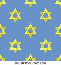 Yellow Star of David Seamless Pattern - Yellow Star of David...