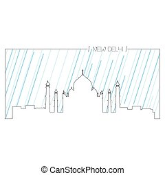 Isolated outline of Taj Mahal - Isolated abstract outline of...