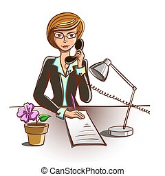 Isolated Cartoon Secretary - Hand drawn secretary answering...