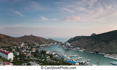 Balaklava bay view from above at sunset. Crimea. Russia