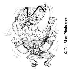 Pressure frantic bulge hand draw - Thai Giant cartoon acting...