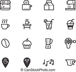 Coffee cafe element vector black icon set on white background