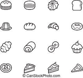 Set of bakery vector black icon set on white background