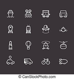 Vehicle element vector white icon set on black background
