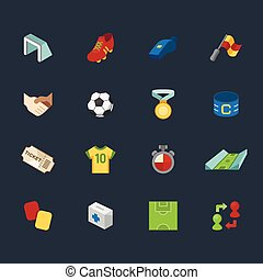 Soccer, football element vector color icon set - Soccer,...