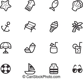 Beach holiday element vector black icon set on white...