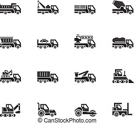 Industry cars vecter black icon set on white background