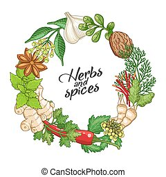Vector hot circle template with spices and herbs - Vector...