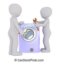 3d toon mechanics mending washing machine