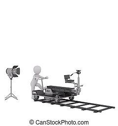 3d toon moving cinema camera on track - 3d toon figure...