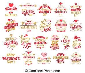 Valentines Day badges set