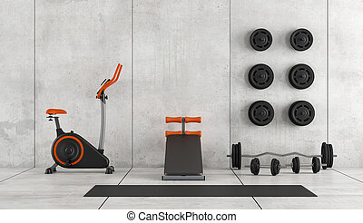 Modern room with gym equipment - Concrete room with...
