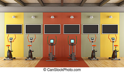 Colorful gym with statiobary bike - Colorful gym with...
