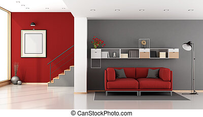 Red and gray modern living room with staircase,sofa and...