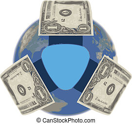 vector Dollar, covering the Earth