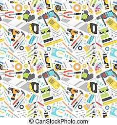 Construction tools vector icons seamless pattern.