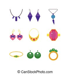 Set of cartoon jewelry accessories vector. - Set of vector...