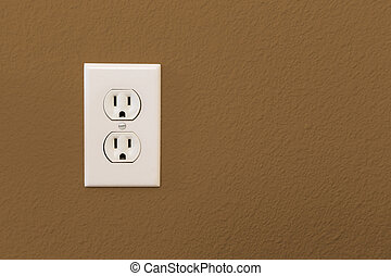 Electrical Sockets In Colorful Brown Wall