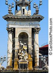 Plaza de Espanya, Barcelona, Spain - Detail of the fountain...