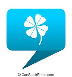 four-leaf clover blue bubble icon