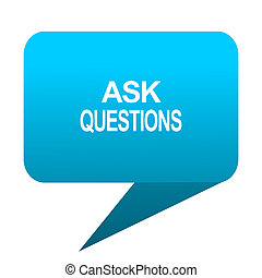 ask questions blue bubble icon
