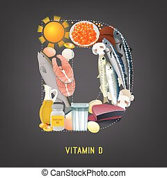Vitamin D in Food - Vitamin D products. Beautiful vector...