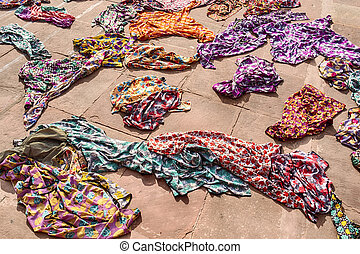 Hijabs At The Jama Masjid Mosque - A pile of colorful...