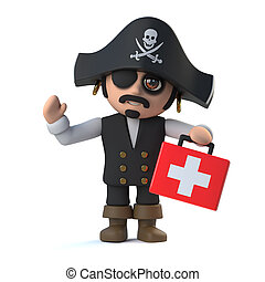 3d Crazy cartoon pirate captain has a first aid kit - 3d...