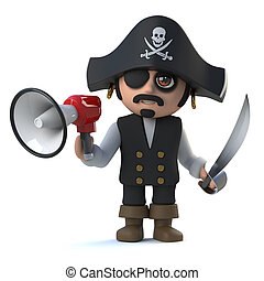 3d Crazy cartoon pirate captain character holding a...