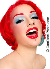 Laughing redhead - Portrait of young beautiful redhead...