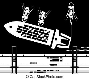 Tugboats towing cargo ship to dock - vector illustration