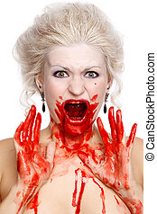 Bloody crying woman - Portrait of blond bloody crying woman...
