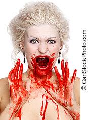 sangrento, chorando, mulher