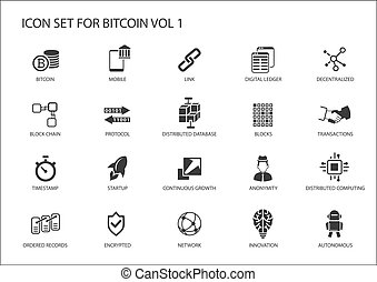 Bitcoin vector icons